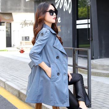 especially female new autumn long faux leather coats double breast turn down collar long fashion women trench coat leather 2017