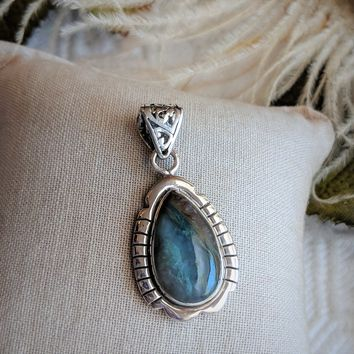 Artisan Crafted Sterling Silver Multi Colored Jasper Teardrop Pendant