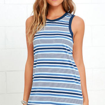 Rhythm The Strokes Blue Multi Striped Dress