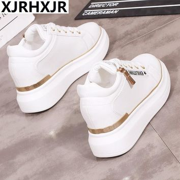 XJRHXJR Size 35-40 Women Breathable Slim Lace Up Casual Platforms Shoes Height Increasing Rocking Shoes Sports Wedge Sneakers