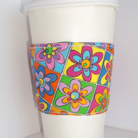 Coffee Cozy Warhol flowers, Insulated Fabric reusable quilted drink sleeve with Insul bright lining.
