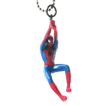 Realistic Swinging Spiderman Shaped Figurine Pendant Necklace | Marvel Super Heroes