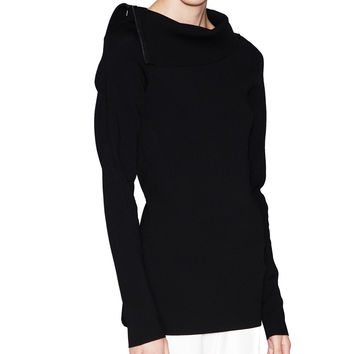Acne Studios Penelope Black Zippered Collar Sweater.