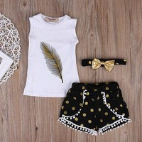Girl Gold Feather Top +Short  Bottom Headband Lovely girl Outfits Set