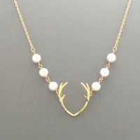 Antler, Deer, Pearl, Gold, Silver, Necklace, Animal, Hunter, Hunting, Jewelry, Modern, Minimal, Gift, Jewelry, Party, Prom, Jewelry
