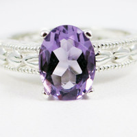Lavender Amethyst Oval Engraved Sterling Silver Ring