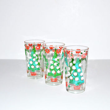 Vintage Christmas Tumblers Christmas Glasses Set of 3 Glasses with Christmas Trees, Wreaths and Bells Drinking Glasses Red and Green Glasses
