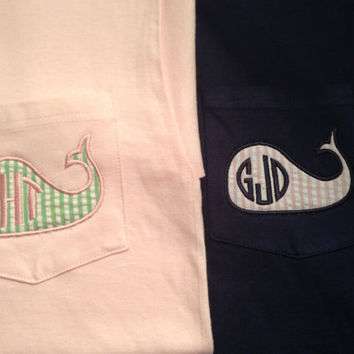 Monogram seersucker whale pocket tee  by TheMonogrammingQueen