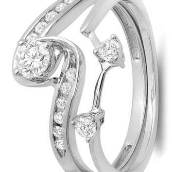 CERTIFIED 0.50 Carat 10K White Gold Round Diamond Swirl Bridal Set Engagement Ring