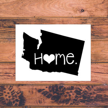Washington Home Decal | Washington Decal | Homestate Decals | Love Sticker | Love Decal  | Country Decal | Car Decal | Car Stickers | 087
