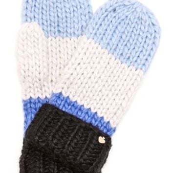 Chunky Knit Colorblock Mittens