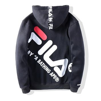 BAPE AAPE X FILA Popular Men Women Casual Print Hooded Zipper Cardigan Sweatshirt Jacket Coat Black