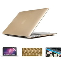 "Applefuns(TM) 4in1 Kit Hard Shell Case + Keyboard Cover + Screen Protector + Dust Plug for Macbook Air 13"" A1369 A1466 (Metallic Gold)"