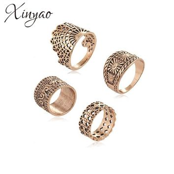 XINYAO 2017 4pcs/lot Antique Gold Silver Color Knuckle Midi Rings Sets For Women Retro Boho Hollow Carved Ring Indian Jewelry