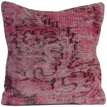 "Pink Handmade Overdyed Rug Pillow 20""x20"""