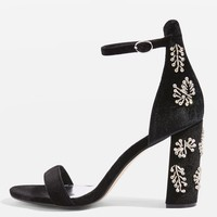 MILLIONAIRE Embellished Block Heel Sandals - Heels - Shoes
