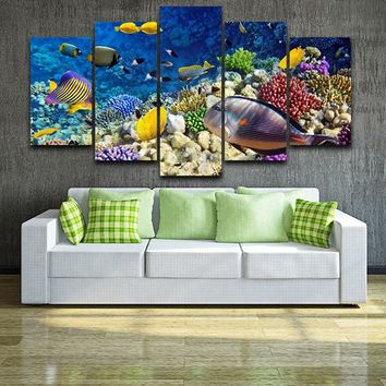 Tropical Fish Coral Reef Ocean Canvas Wall Home Decor Five Piece Large Framed