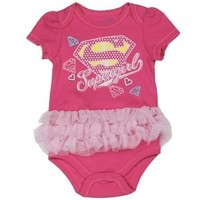 Pink SUPERGIRL Baby Superhero One-Piece Costume Creepers With Sparkly Tutu