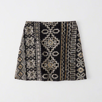 SEQUINED VELVET MINI SKIRT
