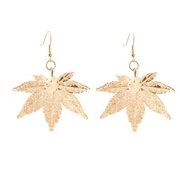 Real Gold leaf Earrings Japanese Maple Leaf - Small