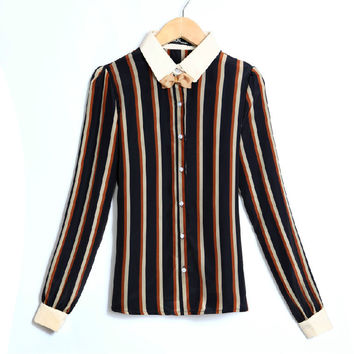 Chiffon Stripes Butterfly Ladies Long Sleeve Shirt Blouse [6047703233]