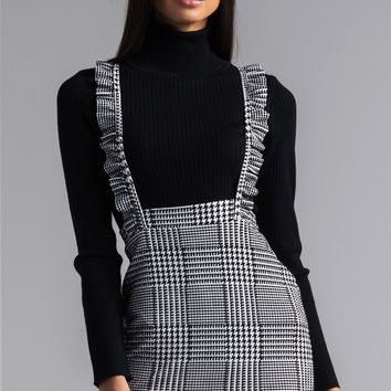 AKIRA Houndstooth Ruffle Strap Overall Mini Dress in Black White