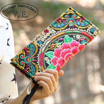 New National Trend Ethnic Embroidery Wallet Double Side Embroidered Flower Coins Purse Bags Women's Small Handbag Clutch Bag