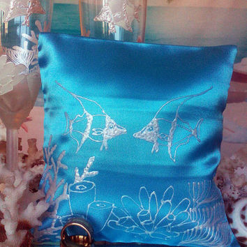 Hand painted blue Satin ring bearer pillow Beach sea wedding Coral reef personalized wedding favor