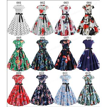 Womens Vintage Dress Summer Floral Print Short Sleeve Dresses 50s 60s Office Rockabilly Swing Retro Pinup
