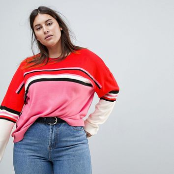 ASOS CURVE Sweater with Crew Neck in Color Block Stripe at asos.com