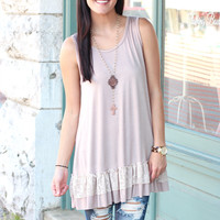 Ruffled Lace Layering Tunic {Mocha}