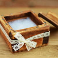 Wedding Ring Box with cap Wooden ring box Jewelry box