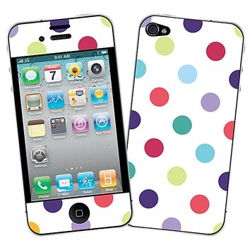 Polka Dot Explosion on White Skin for the iPhone 4/4S by skinzy.com