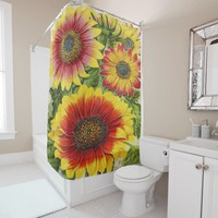 vintage seed pack shower curtain