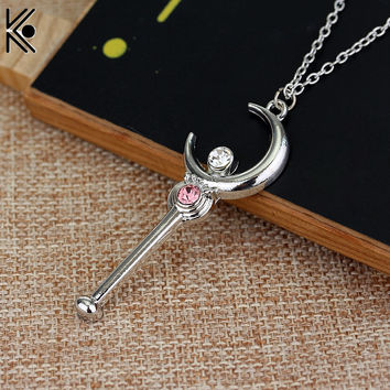 Anime Cartoon Silver Necklace Sailor Moon Stick With Crystal Pendant Necklace Cosplay Christmas girl nice gift