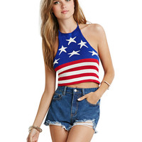 Halter Crop Top with American Flag Print