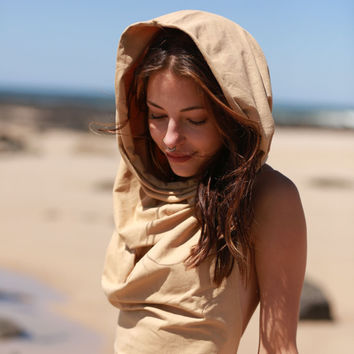 Persian Princess Hood Crop Top, Festival Top, Pixie Top, Faerie Top, Cowl Neck Hood, Wrap Top, Elven Top, Goa, Tribal, Hippie, Faerie Top