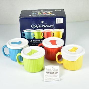 Corning Ware (4) Colored Mugs with Vented Plastic Lids / Covers