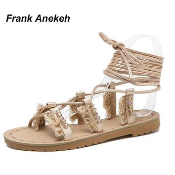 Frank Anekeh Women Boho Bohemian Gladiator Roman Sandals Shoe Woman Casual Beads Tasse