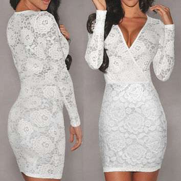 Sexy Women White Lace Deep V Neck Long Sleeve Cocktail Party Evening Pencil Midi mini Wedding  Dresses = 1956616644