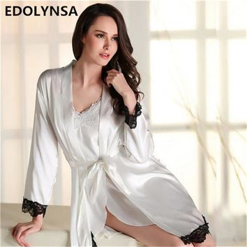 2017 Nightgown Robe Set Silk Bridesmaid Robes Kimono Sexy Women Nightwear Lace Dressing Gown Sleep Lounge Home Dress#P109