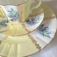 Antique Signed Royal Grafton Fine Bone China Buttercup Yellow/Teacup, Saucer and Dessert Plate/Wedding Gift/Bridal Shower/Tea Party