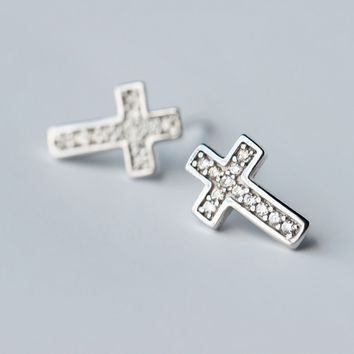 Fashion personalized cross 925 sterling silver zircon earrings, a perfect gift !