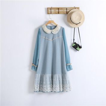 Lolita Cute Mori Girl Japanese Style Cotton Linen Peter Pan Collar Lace Ruffle Chiffon Long Sleeve Women Autumn Spring Dress