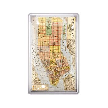 Outline & Index of New York City Map Decoupage Glass Tray
