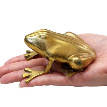 Brass Frog Figurine, Toad Statue, Brass Animal Figurines, Vintage Paperweight, Gold Home Office Accessories, Bookshelf Desk Mantel Decor