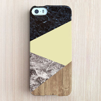 iPhone 6 Case, iPhone 6 Plus Case, iPhone 5S Case, iPhone 6, iPhone 5C Case, iPhone 4S Case, iPhone 4 Case - Marble/ wood Color Block Yellow