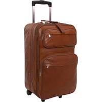 BROWN LEATHER ROLLING SUITCASE
