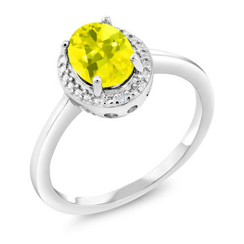 1.31 Ct Oval Canary Mystic Topaz White Diamond 925 Sterling Silver Ring