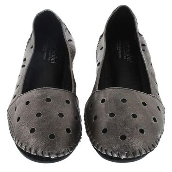 Josef Seibel Women's PIPPA 03 basalt perforated leather flats 72903-33649